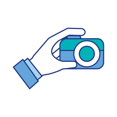 hand holding photo camera push button vector illustration