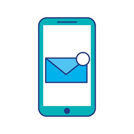 smartphone receiving email correspondence digital virtual vector illustration Illustration