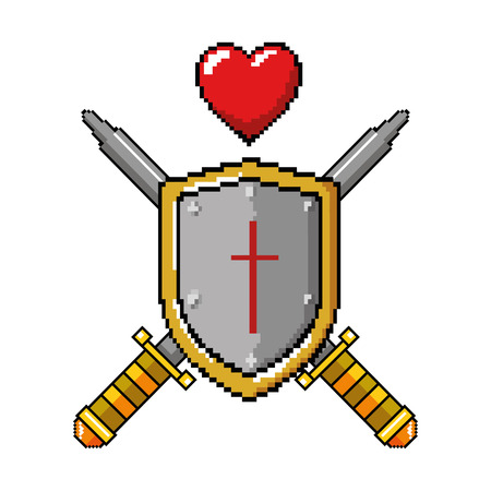 pixelated shield with sword and heart vector illustration design