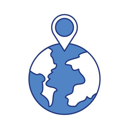 Puntatore del mondo globo mappa posizione web illustrazione vettoriale Archivio Fotografico - 87064796