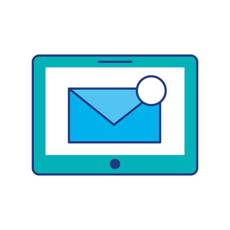 メールボックス メッセージや電子メール通知のベクトル図を搭載したタブレットします。
