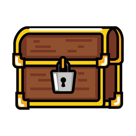 Diseño pixelado del ejemplo del vector del icono del cofre del tesoro Foto de archivo - 87064833