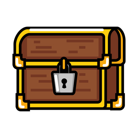 pixelated treasure chest icon vector illustration design
