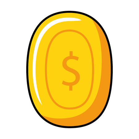 pixelated coin game icon vector illustration design