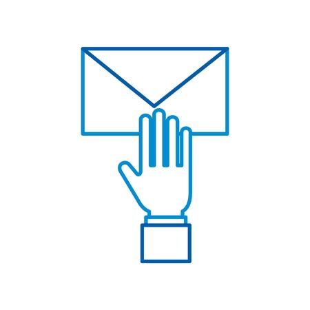 전자 메일 봉투 메시지 문자 웹 기호 벡터 일러스트와 함께 손 스톡 콘텐츠 - 87901373
