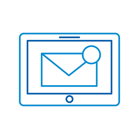 Tablet con messaggio di posta elettronica o email notifica illustrazione vettoriale Archivio Fotografico - 87257562