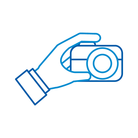 hand holding photo camera push button vector illustration Zdjęcie Seryjne - 87326892