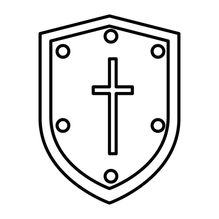pixelated shield game icon vector illustration design Illustration