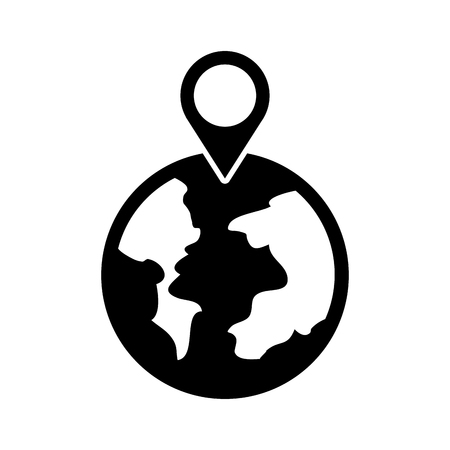 A globe world pointer map location web vector illustration Illustration