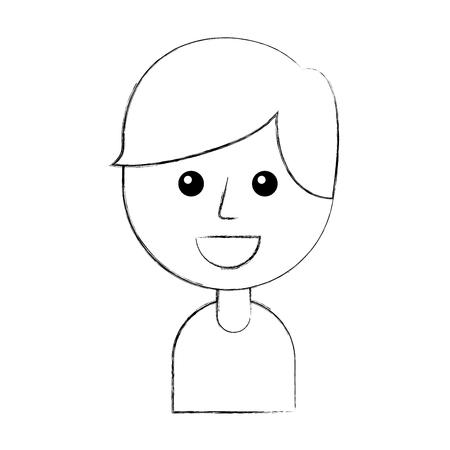 幸せな若い男の子が微笑む漫画ベクトルイラストの肖像