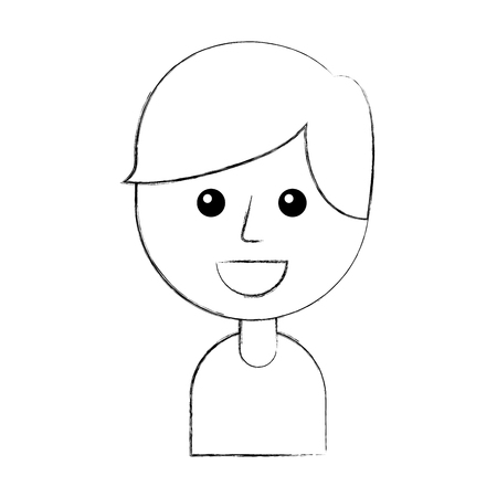 portrait of happy young boy smiling cartoon vector illustration Stock fotó - 87326902