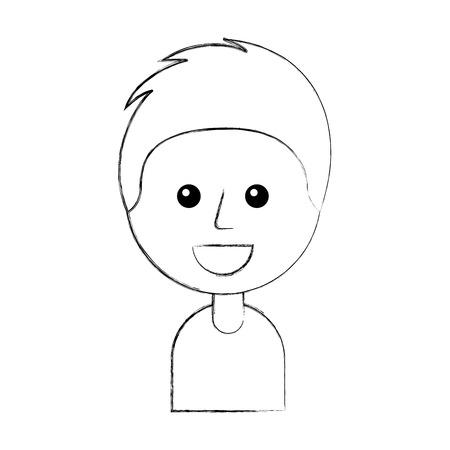 portrait of happy young boy smiling cartoon vector illustration