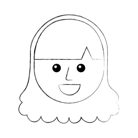 만화 어린 십대 행복한 여자 벡터 일러스트 웃는 일러스트
