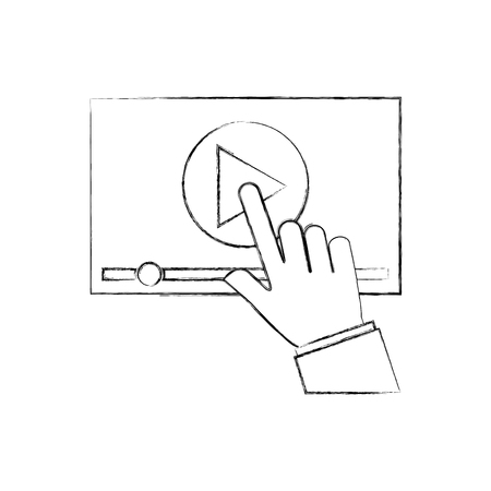 hand touch screen video player button technology vector illustration 向量圖像