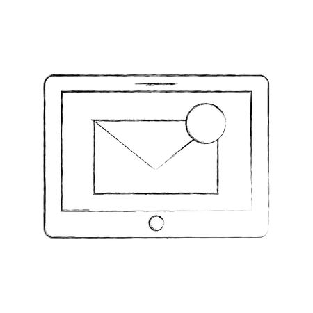 사서함 메시지 또는 이메일 통지 벡터 일러스트와 함께 태블릿