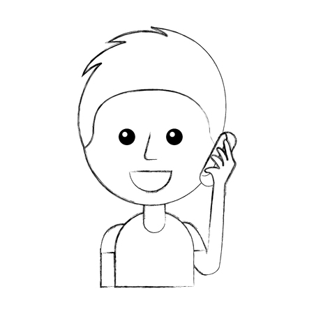 young man speaking using his mobile phone vector illustration Illustration