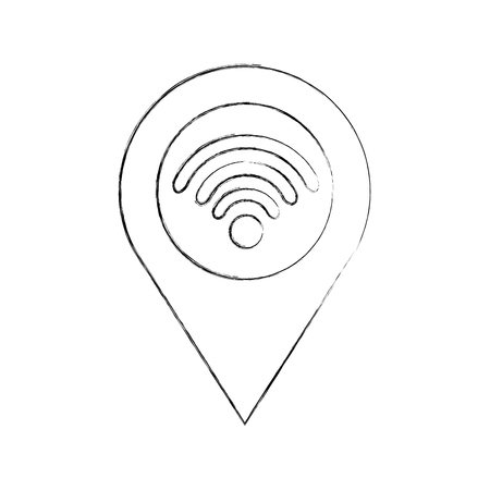 Carte pointeur avec wifi connexion internet connexion illustration vectorielle Banque d'images - 87326919