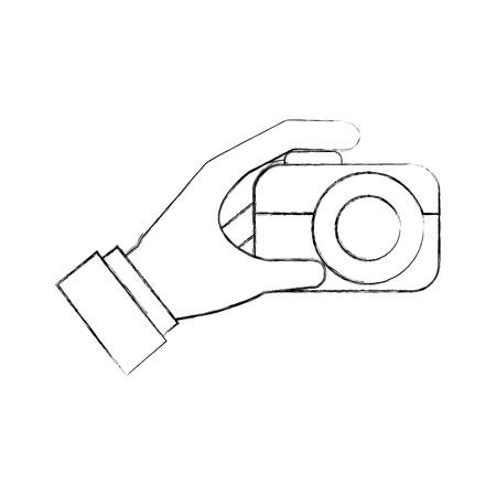hand holding photo camera push button vector illustration Stock Vector - 87257590