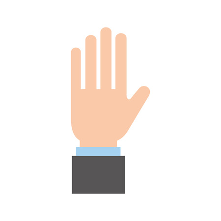 business hand man showing five fingers vector illustration