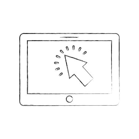 tablet with cursor button digital technology vector illustration Illustration