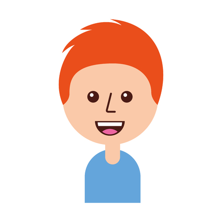 portrait of happy young boy smiling cartoon vector illustration