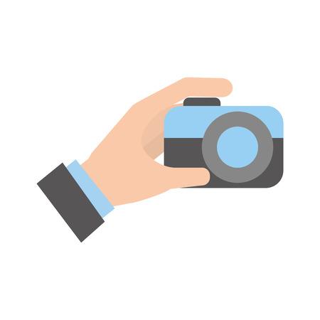 mano que sostiene la cámara de empuje botón de la ilustración del vector
