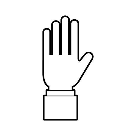 5 本の指を示すビジネス手マン ベクトル イラスト