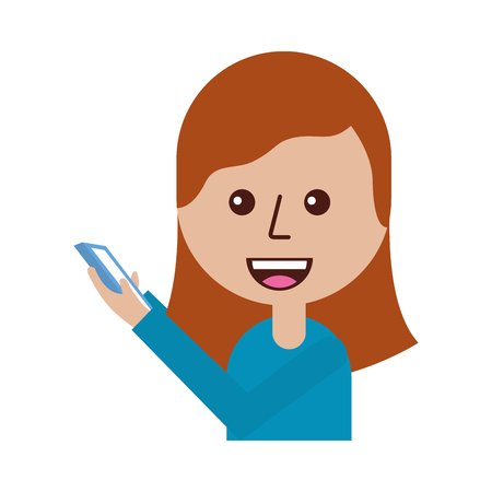 young girl with mobile phone in her hand vector illustration