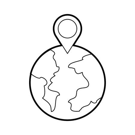 グローブ世界ポインター マップの場所 web ベクトル図  イラスト・ベクター素材