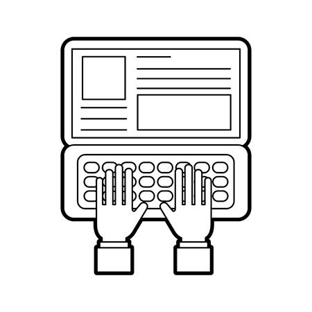 入力ノート パソコン作業ウェブサイト ベクトル イラストレーションを手します。