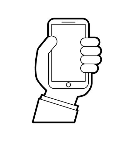 hand holding smartphone device digital vector illustration