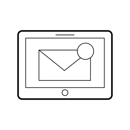 tablet with mailbox message or email notification vector illustration