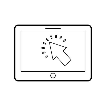 カーソルボタンが付いているタブレットデジタル技術のベクトルイラスト