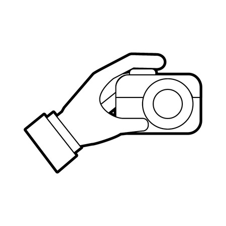 hand holding photo camera push button vector illustration Stock Vector - 87326977
