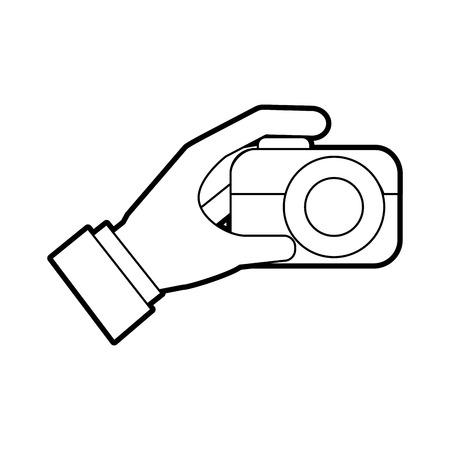 hand holding photo camera push button vector illustration