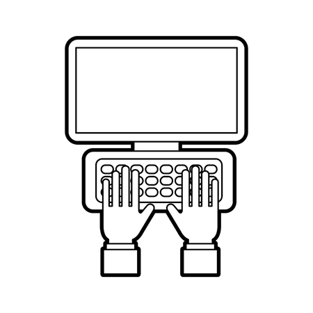 hand on laptop keyboard with blank screen monitor vector illustration