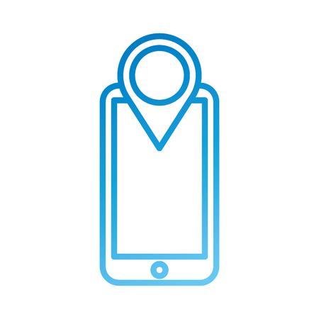 smartphone technology pointer map navigation application vector illustration