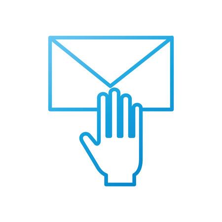 전자 메일 봉투 메시지 문자 웹 기호 벡터 일러스트와 함께 손 일러스트