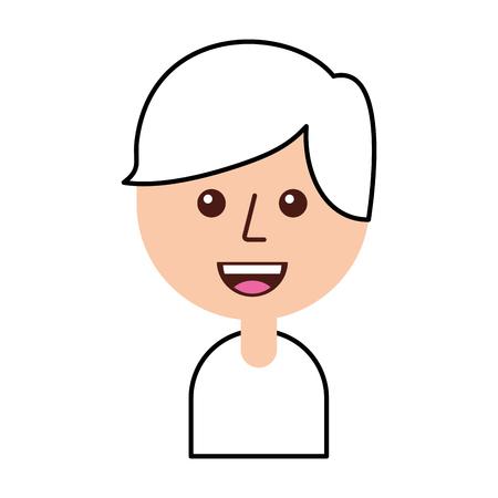 幸せな少年漫画のベクトル図を笑顔の肖像画  イラスト・ベクター素材