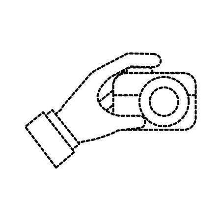 hand holding photo camera push button vector illustration Imagens - 87327002