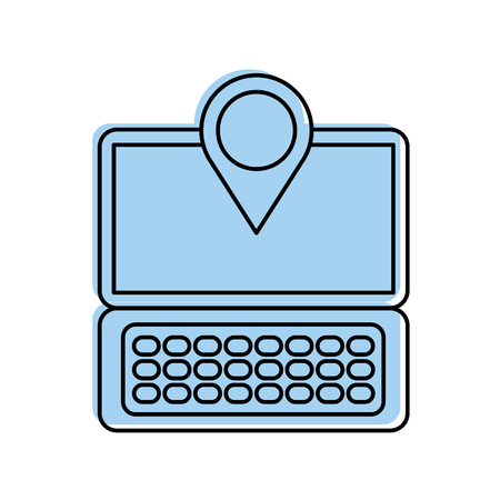 laptop communication pointer map navigation gps location app vector illustration Illustration