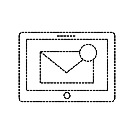 tablet met mailbox bericht of e-mail notificatie vector illustratie