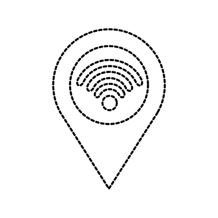 Puntero del mapa con wifi conexión de la conexión en la ilustración de vector de la bandera Foto de archivo - 87257691