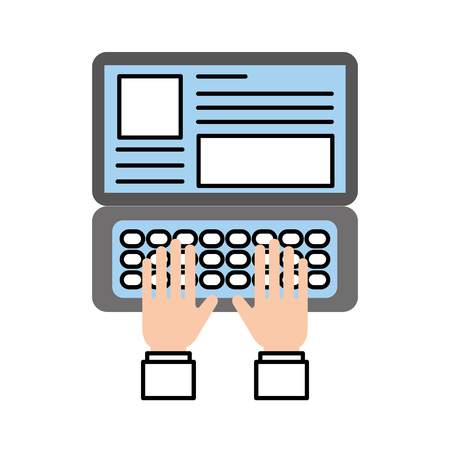 hand typing laptop working website page vector illustration