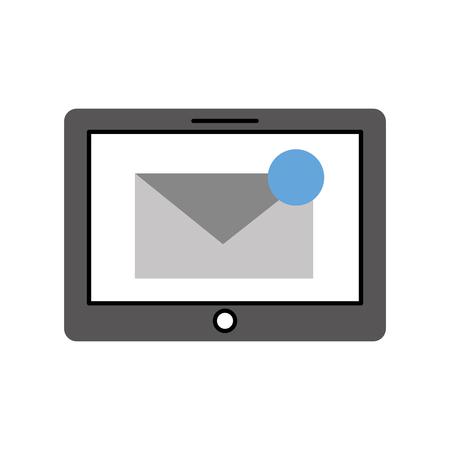 Tablet con messaggio di posta elettronica o email notifica illustrazione vettoriale Archivio Fotografico - 87327039