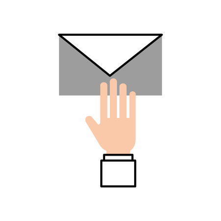 hand with email envelope message letter web symbol vector illustration