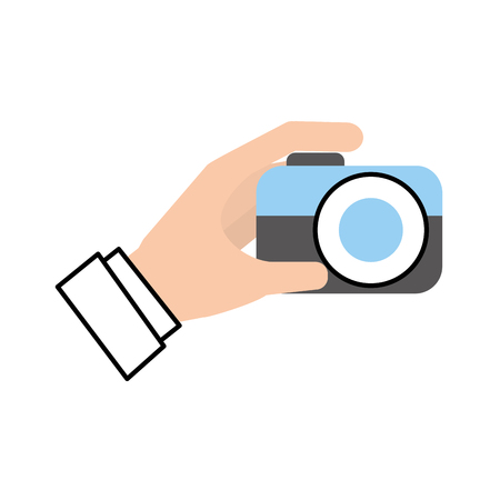 hand holding photo camera push button vector illustration Imagens - 87327043