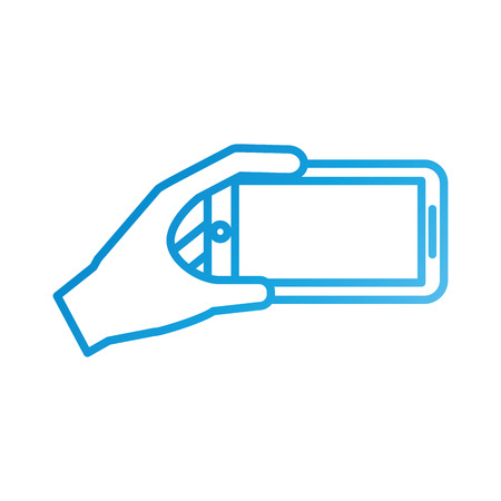 mobile phone in hand showing device vector illustration Illustration