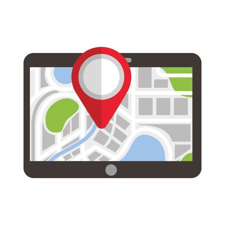tablet pointer map navigation destination symbol vector illustration