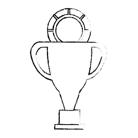 pixelated trophy with coin game award vector illustration design